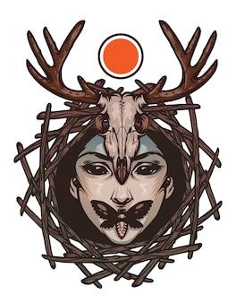 Trendiges emblem mit bösem mädchengesicht, totenkopfmotten und hirschschädel. vektor-illustration