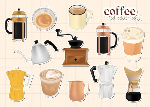 Trendiges kaffeesticker-set