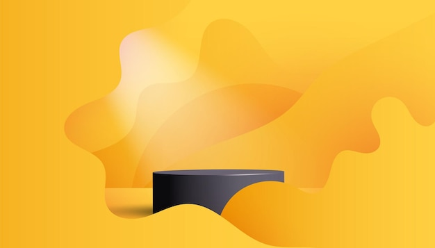 Trendiges leeres schwarzes sockeldisplay auf leuchtend gelbem hintergrund leerer ständer