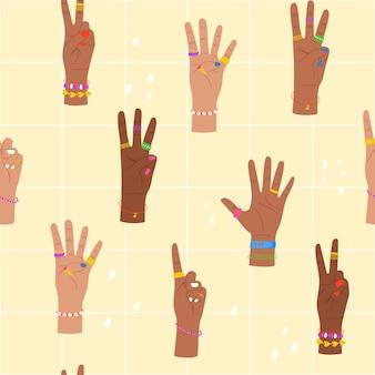 Trendiges nahtloses muster mit den händen, die auf dem fingerhintergrund mit den von den händen angezeigten zahlen zählen