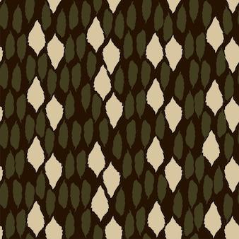 Trendiges nahtloses safari-muster in natürlichen grün- und brauntönen abstrakte handgezeichnete formen