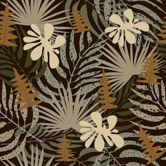 Trendiges nahtloses safari-muster in natürlichen grün- und brauntönen abstrakte tropische blätter pflanzen