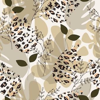 Trendiges nahtloses safari-muster in natürlichen grün- und brauntönen abstrakte tropische blätterformen