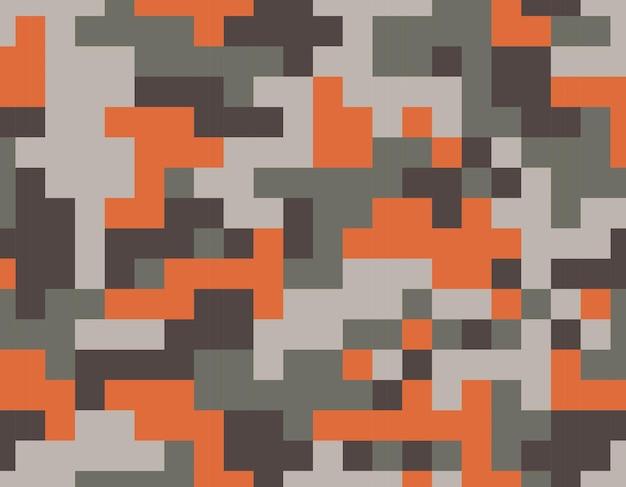 Trendiges orangefarbenes camouflage-muster mit pixelhellem ornament für verteidiger des vaterlandstags...