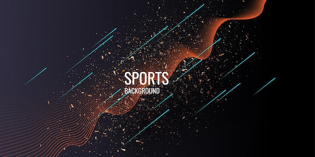 Trendiges poster für sport auf dunklem hintergrund. vektor-illustration