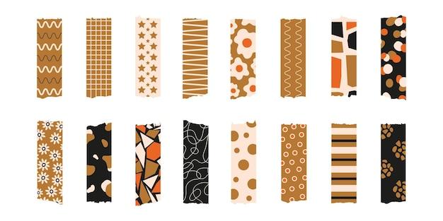 Trendiges set aus buntem, stylischem washi tape auf weißem hintergrund