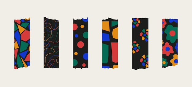 Trendiges set aus hellem, farbenfrohem, stylischem washi tape, isoliert auf pastellfarbenem hintergrund