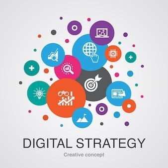 Trendiges ui-blasen-designkonzept der digitalen strategie mit einfachen symbolen. enthält elemente wie internet, seo, content-marketing, mission und mehr