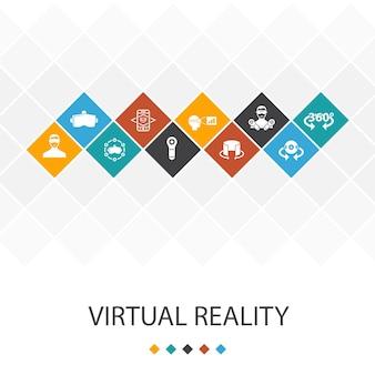 Trendiges ui-vorlagen-infografik-konzept der virtuellen realität. vr-helm, augmented reality, 360°-ansicht, vr-controller-symbole