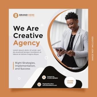 Trendiges und modernes konzept-kreativagentur-design für social-media-posts und banner-vorlagen-werbung
