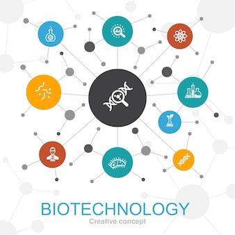Trendiges webkonzept der biotechnologie mit symbolen. enthält symbole wie dna, wissenschaft, bioengineering, biologie