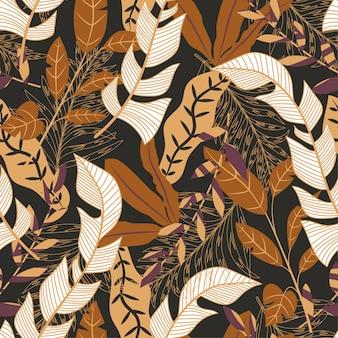 Trending nahtlose hintergrund mit hellen tropischen blättern und pflanzen