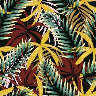 Trendmuster mit gelben und schwarzen tropischen pflanzen.