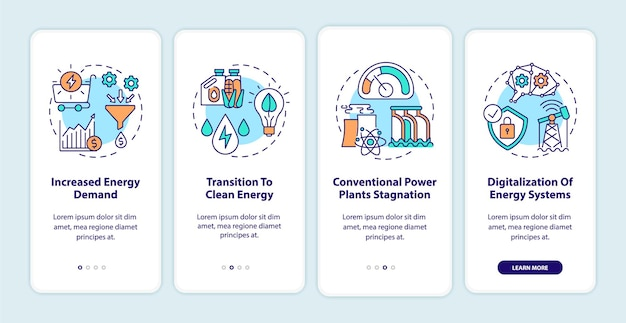 Trends in der energiewirtschaft onboarding des seitenbildschirms für mobile apps mit konzepten