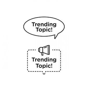 Trendthema vektor logo symbol oder symbolsatz mit schwarzen gelben linienelement für social media und web kommunizieren. embleme und banner vektor festgelegt isoliert auf weißem hintergrund