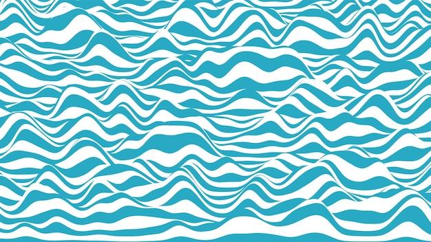 Trendy 3d blau-weiße streifen verzerrter hintergrund