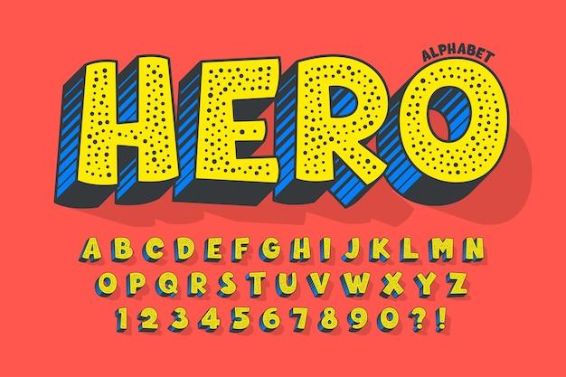 Trendy 3d komisches design, buntes alphabet