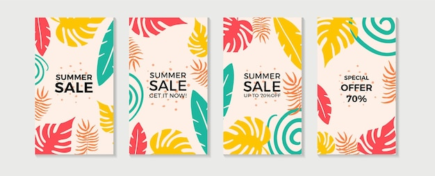 Trendy abstrakte sommervorlagen mit floralen und geometrischen elementen.