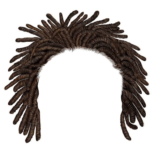 Trendy afrikanische dreadlocks mit langen haaren. realistisch. mode schönheitsstil.