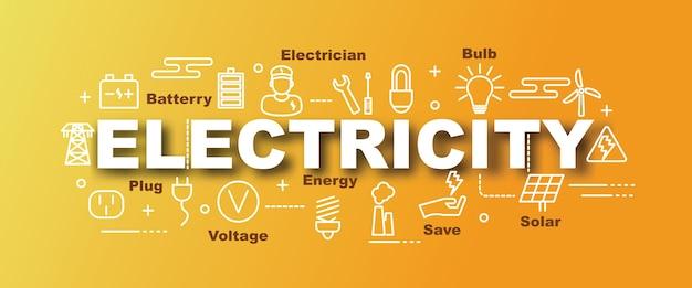 Trendy banner des elektrizitätsvektors