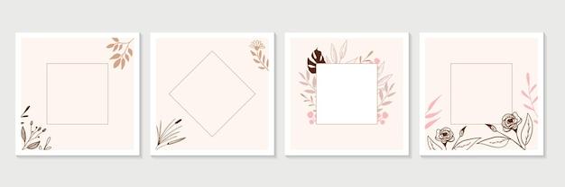 Trendy blumen banner design-vorlagen. universelle handgezeichnete blumenschablonen