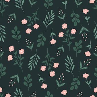 Trendy botanisches nahtloses muster mit blumen und blättern