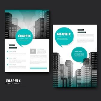 Trendy broschürenschablonendesign mit stadtlandschaft und geometrischen elementen