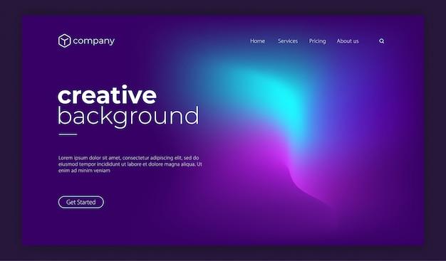 Trendy colourful fluid gradient shape landing page