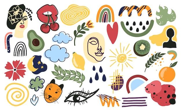Trendy doodle abstrakte natur-symbole isoliert auf weißem hintergrund zeitgenössische handgezeichnete geometrische o...