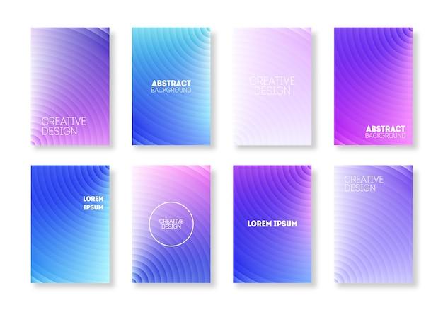 Trendy farbe minimal cover set. geometrischer gradient modern