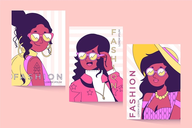 Trendy fashion portraits cover set
