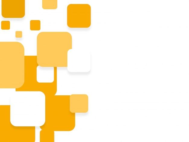 Trendy flache weiße und gelbe quadrate, abstrakte hintergrund für broschüre, flyer oder präsentationen design.
