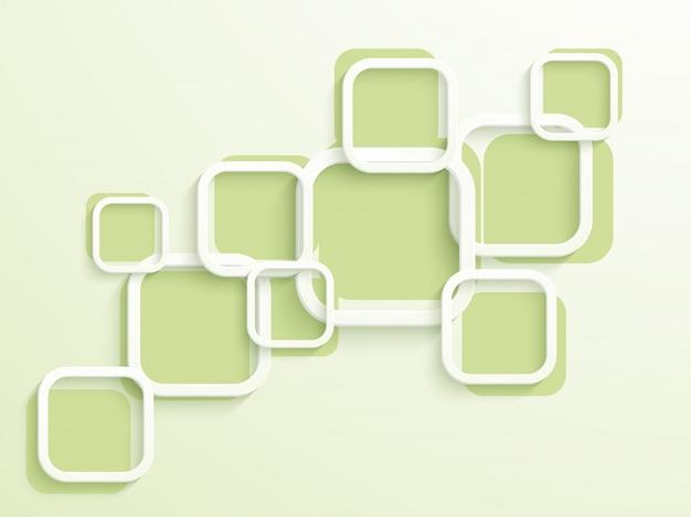 Trendy flache weiße und grüne quadrate, abstrakter hintergrund für broschüre, flyer oder präsentationen design.