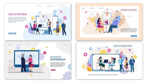Trendy flat landing page set für online-dienste