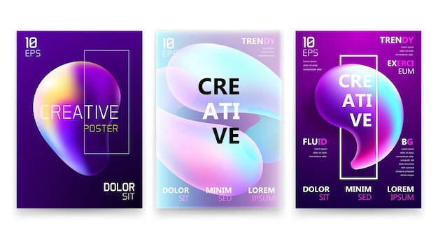 Trendy fluid gradient a4 poster design set