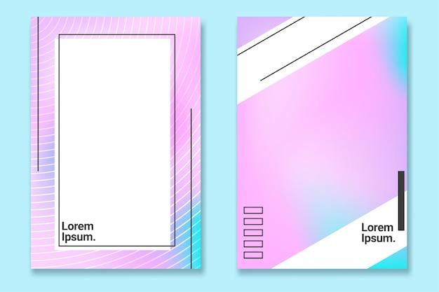 Trendy fluid gradient white poster set design