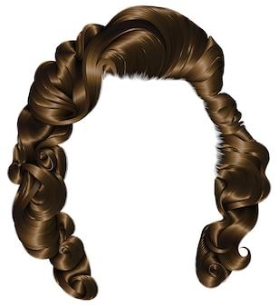 Trendy frau haare brünett braun, schönheitsmode. locken im retro-stil. realistisch.