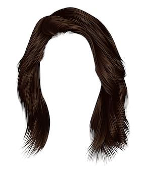 Trendy frau haare dunkelbraune farbe. mittlere länge . schönheitsstil. realistisch.