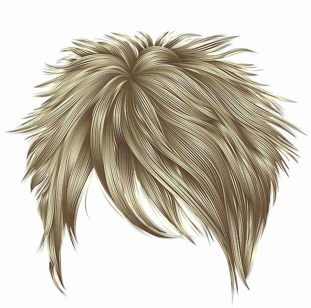 Trendy frau kurze haare blonde farben. franse. mode. realistische 3d.