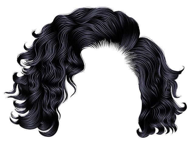 Trendy frau kurze haare brünette schwarz dunkle farben .fringe. mode schönheit stil.realistisch.
