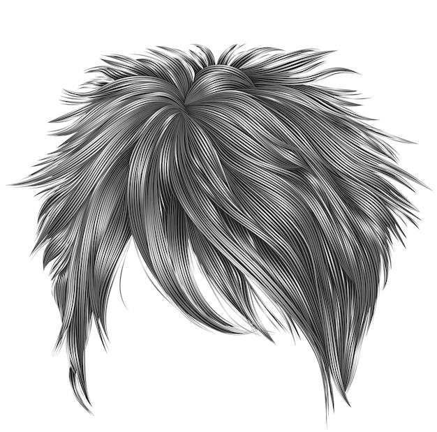 Trendy frau kurze haare graue farben. franse. mode schönheitsstil. realistisch.