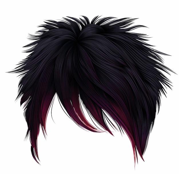 Trendy frau kurze haare schwarz rosa farben. langer rand. mode schönheitsstil. emo japanisch.