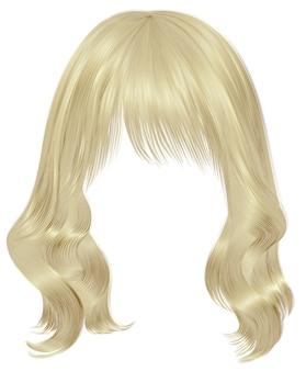 Trendy frau lange haare blonde farben. schönheitsmode. realistisch