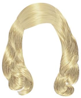 Trendy frau lange haare blonde farben. schönheitsmode. realistische 3d.