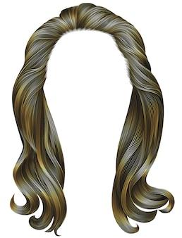 Trendy frau lange haare braune farben. schöne mode. realistische 3d