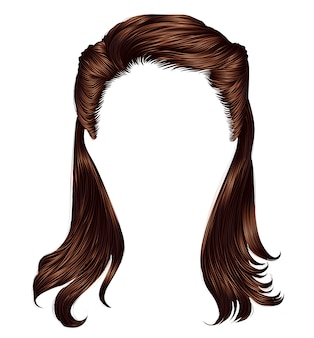 Trendy frau lange haare brünette braun brünette farben. schöne mode. realistische 3d.retro