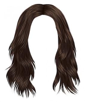 Trendy frau lange haare brünette braun brünette farben. schöne mode. realistische grafik