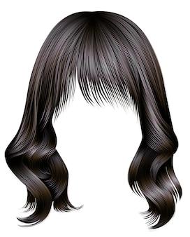 Trendy frau lange haare brünette dunkelbraune farben. schönheitsmode. realistische 3d