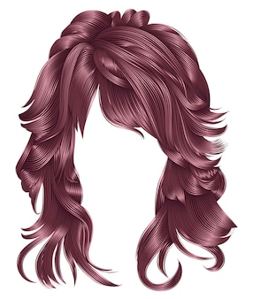 Trendy frau lange haare kupferrosa farben. schöne mode. realistische 3d