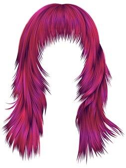 Trendy frau lange haare leuchtend rosa farben. schönheitsmode. realistische 3d